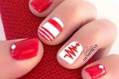 art almond red gel manicure shaped nails white polka dots nail art ibd polish valentineus color youtube ibd red gel manicure polish